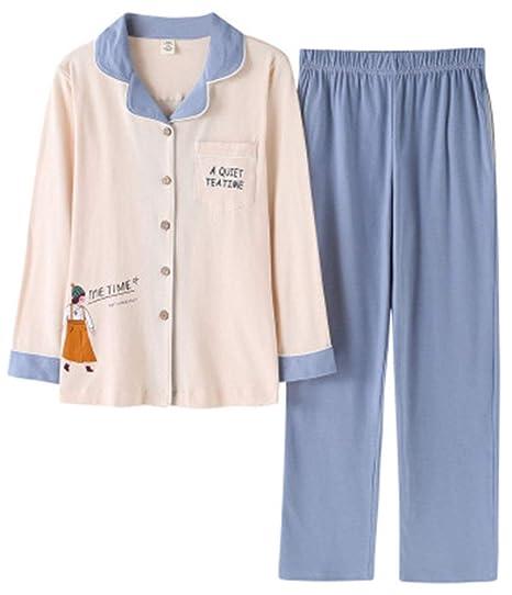 buy online 1a1f4 4a1bf Pyjamas 2-Teilig Schlafanzug Damen Langärmliger Baumwoll ...