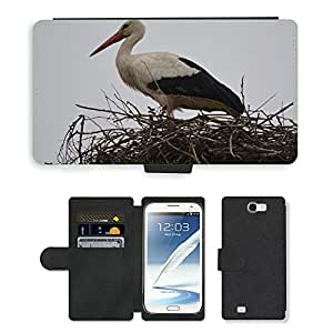 PU LEATHER case coque housse smartphone Flip bag Cover protection // M00134945 Iooievaar Animal Pájaro Nester Nido // Samsung Galaxy Note 2 II N7100