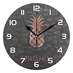 Dozili Rose Gold Foil Pineapple Decorative Wooden Round Wall Clock Arabic Numerals Design Non Ticking Wall Clock Large for Bedrooms, Living Room, Bathroom