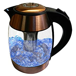 Copper 1.8-liter Electric Cordless Tempered Glass Tea Kettle with Infuser - Make Perfect Tea in one easy Step