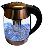 copper electric tea kettle - Copper 1.8-liter Electric Cordless Tempered Glass Tea Kettle with Infuser - Make Perfect Tea in one easy Step