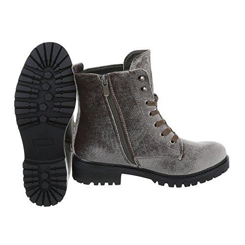 Ital-Design Schnürstiefeletten Damenschuhe Klassischer Stiefel Blockabsatz Schnürer Reißverschluss Stiefeletten Khaki