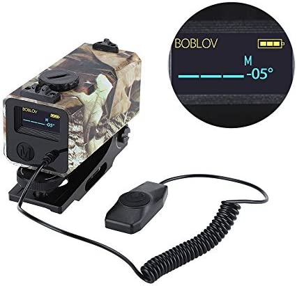 BOBLOV 700m Mini Rifle Scope Mounted Range Finder Tactical Outdoor Hunting Shooting Rangefinder Archery Crossbow Sight Target Speed Measurer with Rail Mount Lightweight Camouflage