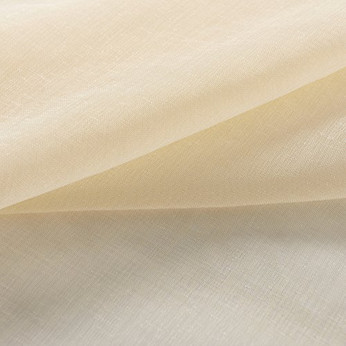 """Dreaming Casa Grommet Semi Sheer Luxury 1 Double Wide Curtain Panel Window Home Decor and Upscale Design Light Penetrating Provide Privacy Soft Durable Polyester Rod Pocket 2 Panels (42""""x84"""" Beige)"""