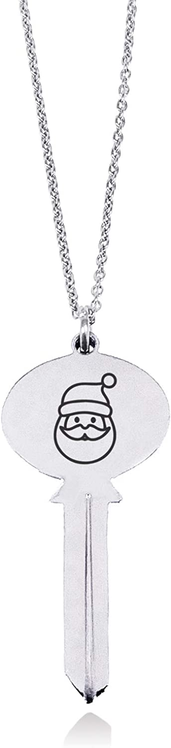 Tioneer Stainless Steel Adorable Santa Claus Oval Head Key Charm Pendant Necklace