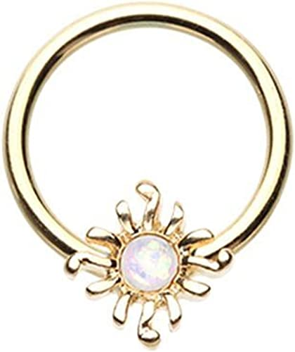 Golden Blazing Sun Opal Glitter Ear Gauge WildKlass Plug