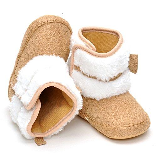 Estamico bebé niña de peluche con lazo de invierno botas de nieve caqui Talla:6-12 meses caqui