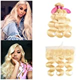 613 Blonde Bundles With Frontal Brazilian Virgin Hair Body Wave 3 Bundles With Closure Remy Human Hair Extenstions Can be Dyed Any Color (18 20 22+16, 613#)