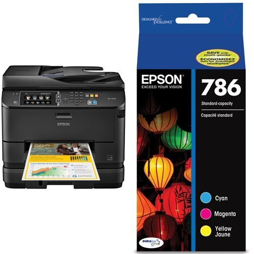 Epson WorkForce Pro WF-4640 Wireless Color All-in-One Inkjet Printer with Scanner and Copier & Epson T786520 DURABrite Ultra Standard-Capacity Color Ink Cartridge, Multipack