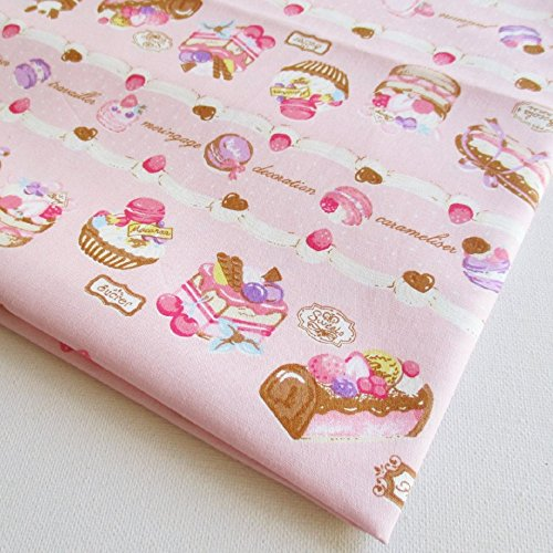 Cupcake Fabric (Pink Cupcake Fabric By the Yard, Birthday Cake Fabric Pink 36 by 36-Inch Wide (1 Yard) (CT356))