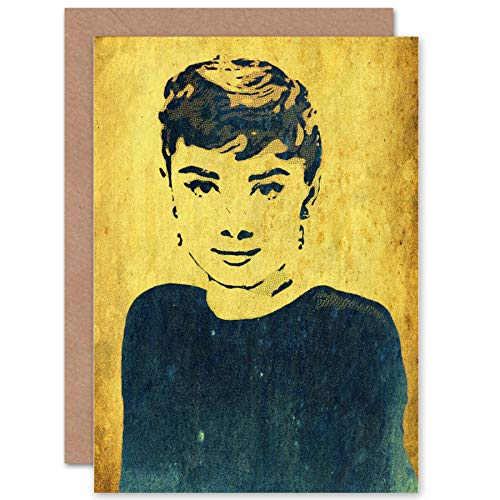 (Wee Blue Coo Card Greeting Gift Painting Portrait Film Actress Audrey Hepburn CP2529)