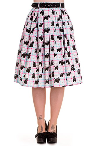 Hell-Bunny-50s-Retro-Vintage-Scottish-Terrier-Pastel-Plaid-Check-Flare-Circle-Skirt