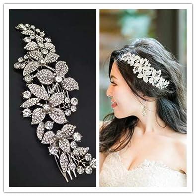 375ad2c055d73 キラキラ フラワー ウェディング ヘッドコーム ヘアアクセサリー 花嫁 髪 飾り ヘッド ドレス 披露宴 結婚式リーフ