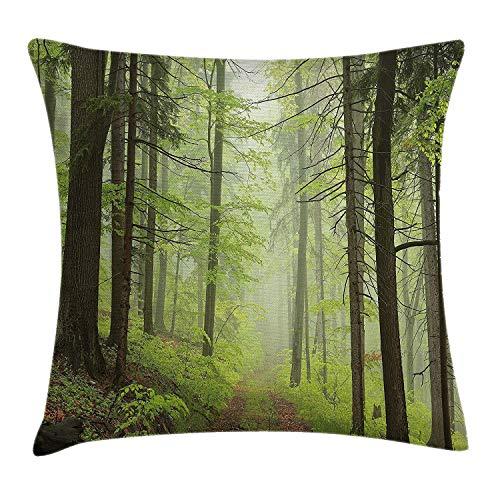 Loiorbue Pillowcases- Outdoor Throw Pillow Cushion Cover Trail Trough Foggy Alders Beeches Oaks Coniferous Grove Hiking Theme 18 X 18 Inches Pillowcase Decorative Sofa Bedroom Car
