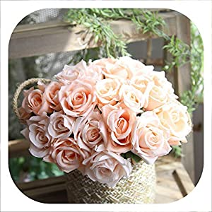 Memoirs- 9Heads Rose Silk Flowers for Home Decoration Artificial Flowers Rose Bouquet for Wedding Party Decoration Fake Flower 6