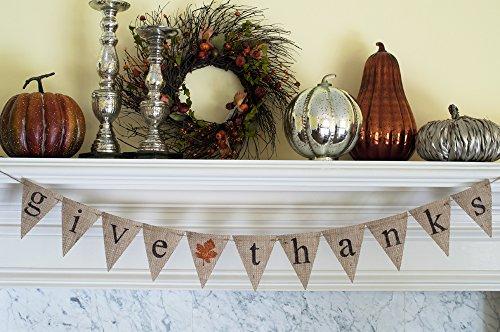 Pennant Shaped Flag - Give (glittered leaf) Thanks Thanksgiving Burlap Banner B090
