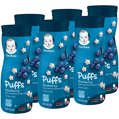 Gerber Graduates Puffs Cereal Snack, Blueberry, Naturally Flavored with Other Natural Flavors, 1.48 Ounce, 6 Count...