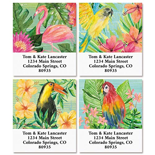 Tropical Delight Return Address Labels- Set of 144, Square Self-Adhesive, Flat-Sheet Labels, by Colorful Images