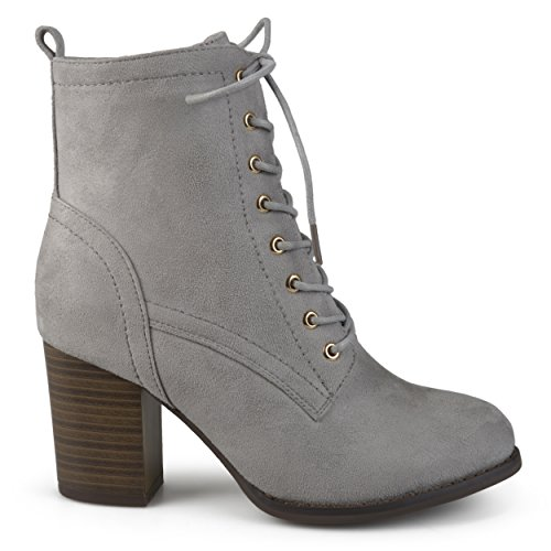 Brinley Co Women's Birdie Combat Boot, Grey, 7.5 Regular US