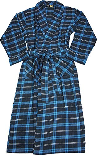 (NORTY - Mens Brushed Cotton Flannel Plaid Bathrobe, Royal, Navy 40852-Large)