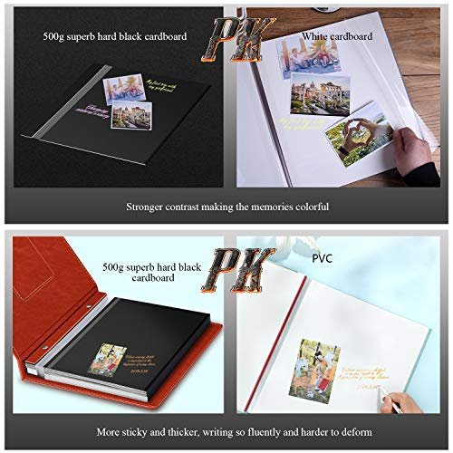 1DOT2 Self-Adhesive Photo Album, Leather Cover, 60 Black Pages Magnetic Self-Stick Page Hand Made DIY Travel Memory Book, Scrapbook Family Albums Holds 3X5, 4X6, 5X7, 6X8