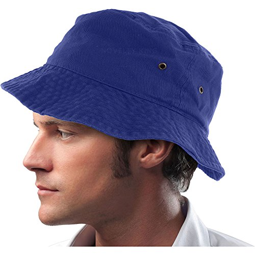 Mens 100% Cotton Fishing Hunting Summer Bucket Cap Hat (L/XL, Royal Blue)