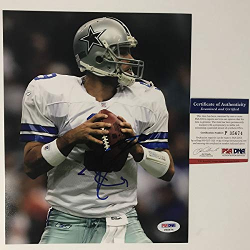 (Autographed/Signed Tony Romo Dallas Cowboys 8x10 Football Photo PSA/DNA COA)