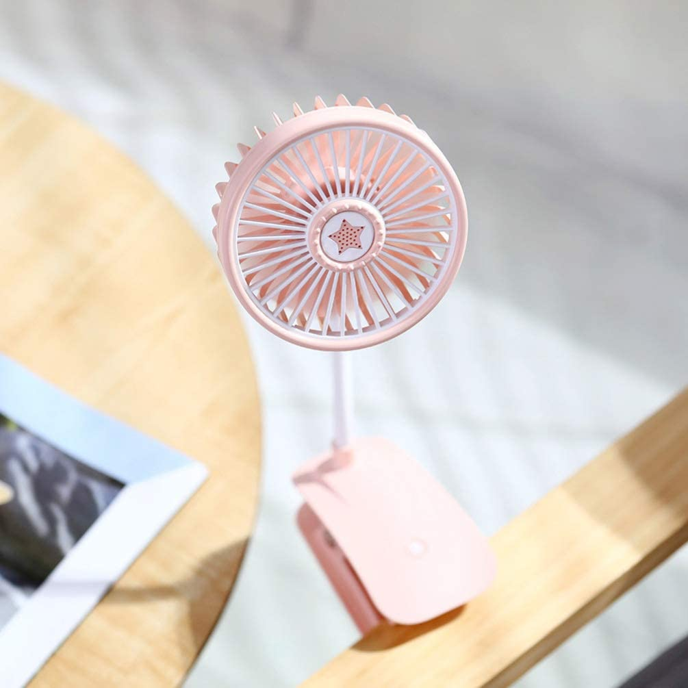 BESPORTBLE Clip-On Fan Colorful Light Adjustable USB Rechargeable Bedside Cooling Fan Desktop Fan