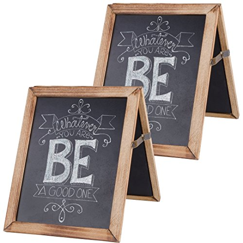 Vintage Rustic Framed Collapsible Double Sided Chalkboard Sign for Wedding, Baby, Kitchen, Home Decor (2-Pack)