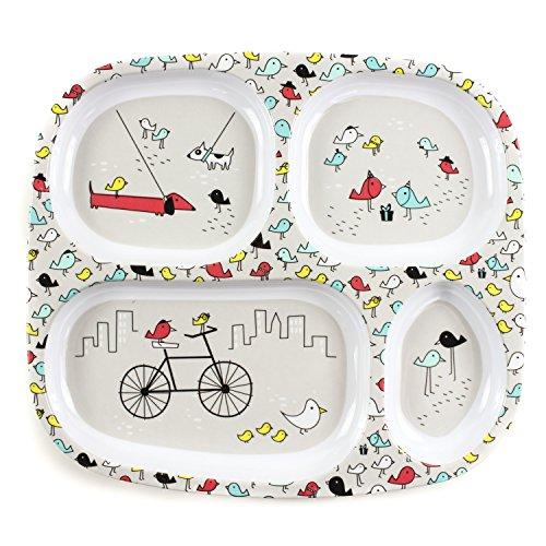 Bumkins Divided Plate, Melamine Tray Plate, Toddler, Kids, BPA Free, Stackable, Dishwasher Safe – Gray Bird Park