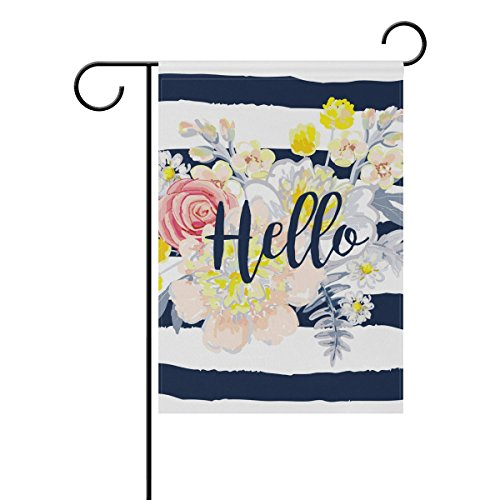 Welcome Banner Flag (U LIFE Hello Welcome Floral Flowers Spring Summer Garden Yard Flag Banner for Outside House Flower Pot Double Side Print 12 x 18 Inch)