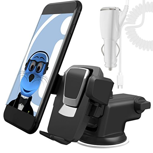 Price comparison product image White Auto Grip Dashboard / Windscreen, Case Compatible Clip On Suction Mount In Car Holder with 2000 mAh Type C USB C In Car Charger For Xiaomi Mi A1 (5X) 2017