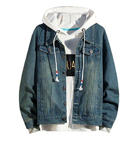 Blue RkBaoye Autumn Juniors Single Jacket Men's Coat Fitness Breasted Denim zwBgqz