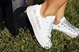 White Monogrammed Wedding Sneakers For Bride, Personalized Bridal Trainers, Awesome Bride Tennis Shoes