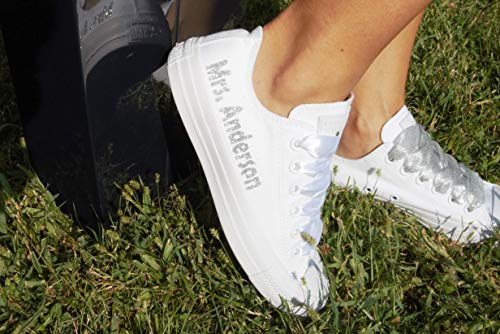White Monogrammed Wedding Sneakers For Bride, Personalized Bridal Trainers, Awesome Bride Tennis -