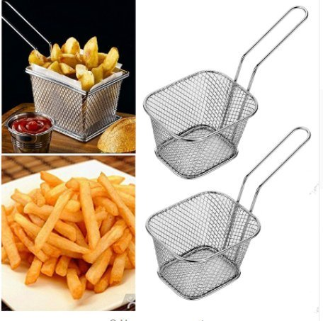 Custom Extra 1Pc Stainless Steel Spider Strainer| Premium Quality| Food Strainer & Sieve| Durable Sturdy Non-Toxic| Perfect for Kitchen, Tea, Rice & Juice Use. (Cake Basket Silver)