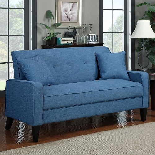 Transitional Linen Sofa (Caribbean Blue) (37″H x 71.65″W x 32.68″D)
