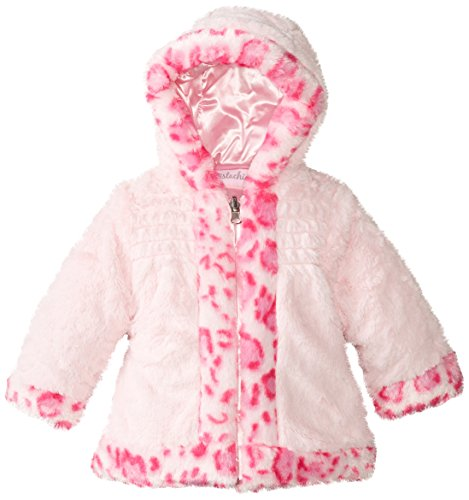 Pistachio Baby Girls' Jacket with Animal Print Faux Fur Trim, Light Pink, 18 Months