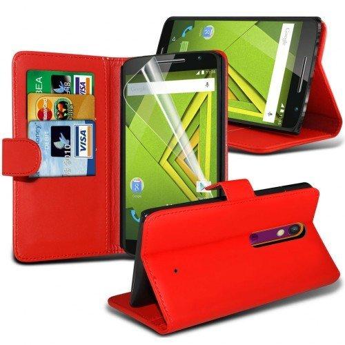 Motorola Moto X Play Cubierta del caso con cuero (Rojo) Plus de regalo libre, Protector de pantalla y un lápiz óptico, Solicitar ahora mejor caja del teléfono Valorado en Amazon! By FinestPhoneCases