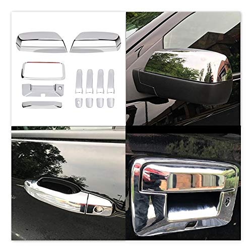 Tutor Auto Chrome Top Half Mirror Cover+ Door Handle+ Tailgate Covers fits Chevrolet Silverado GMC Sierra 1500 2500 3500 2014-2018