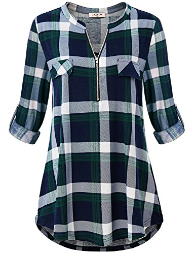 Jazzco Business Casual Clothes for Women,Ladies Zip V Neck Knitted Lightweight Long Sleeve Clothing Boutique Vintage Tunic Tops Plaid Polo Shirts and Blouses for Winter Wear(Plaid Green,X-Large) by Jazzco