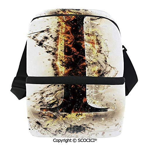 SCOCICI Reusable Insulated Grocery Bags Charred Alphabet Symbol Flames Capitalized I Letter Burning Pattern Design Decorative Thermal Cooler Waterproof Zipper Closure Keeps Food Hot Or Cold