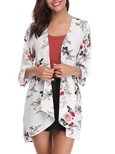 Floral Kimono Top (VYNCS Women's Sheer Chiffon Kimono Cardigans Cape Floral Half Sleeve Casual Blouse Tops (White, Medium))