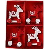 PIONEER-EFFORT Decoraciones de madera de la tabla del ciervo de balanceo de la Navidad