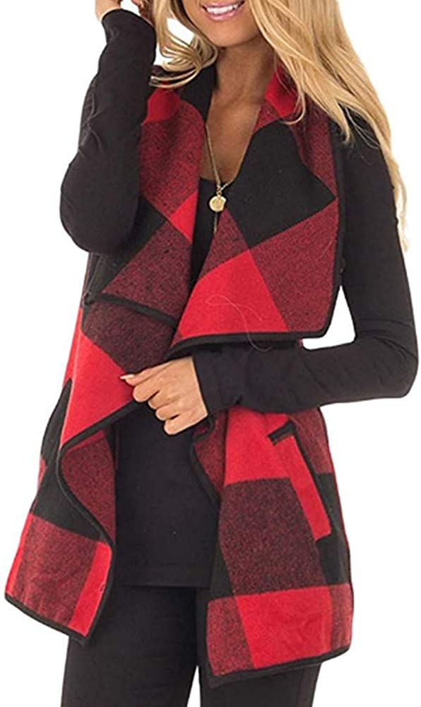 Greentree Women's Loose Fit Short Sleeve Cashmere Knitted Cardigan Sweaters Outerwear with Pocket (Black Red, S)