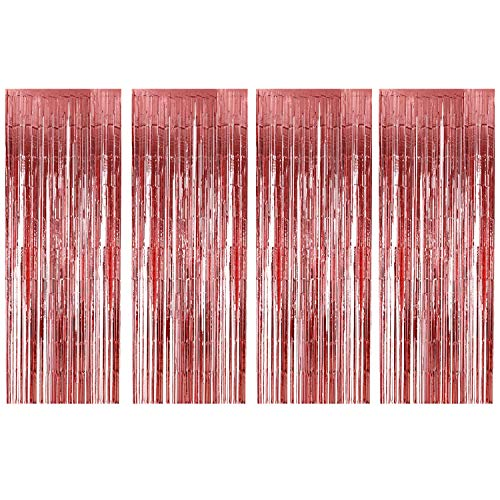 BTSD-home Rose Gold Foil Fringe Curtain, Metallic Photo Booth Tinsel Backdrop Door Curtains for Wedding Birthday and Special Festival Party Decoration(4 Pack, 12ft*8ft)