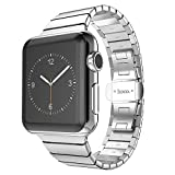 Apple Watch Band HOCO iWatch Smart Watch Band Stainless Steel Metal Link Bracelet Strap with Double Button Folding Clasp For Apple Watch Series 3 Series 2 Series 1 Sport and Edition (Silver, 42MM)
