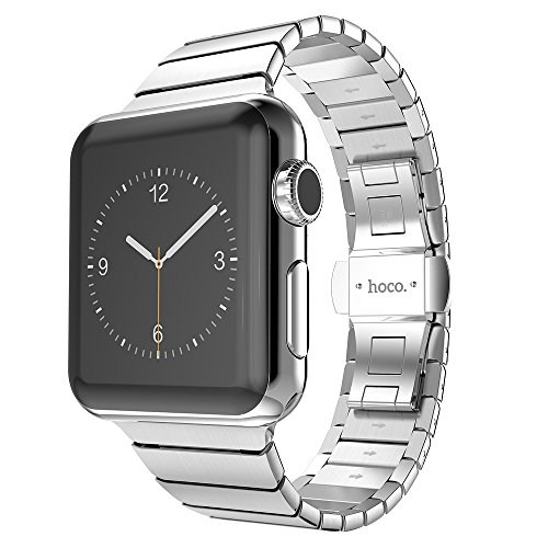 Apple Watch Band HOCO iWatch Smart Watch Band Stainless Steel Metal Link Bracelet Strap with Double Button Folding Clasp For Apple Watch Series 3 Series 2 Series 1 Sport and Edition (Silver, 42MM) by hoco.