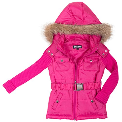 [[39768-Fuschia-10/12] Girl's Puffer Jacket: Sweater Sleeves Coat with Hood] (Viking Outfits For Adults)