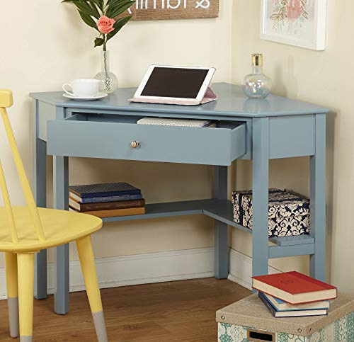 Amazon Com Antique Blue Corner Desk With One Drawer And